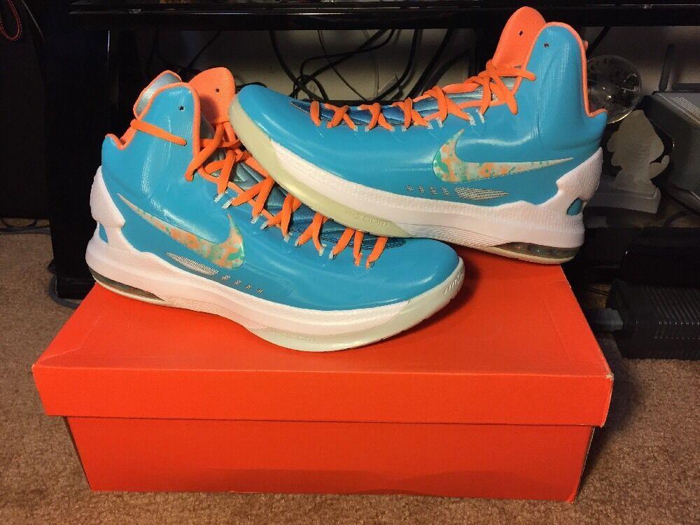 New Nike KD V 5 Easter Turquoise bluee Citrus Fiberglass Size 10 (554988-402)