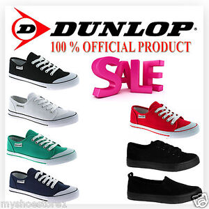 NEW-WOMENS-DUNLOP-LACE-UP-CANVAS-FLAT-PUMPS-PLIMSOLLS-TRAINERS-LADIES-SHOES-SIZE