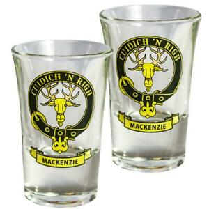 Shot Glass MacKenzie Clan Crest Set of 2 Whisky Tots Scottish Made