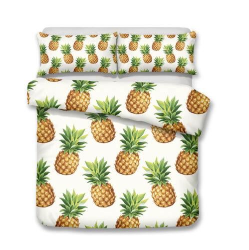 3D Colorful Pineapple Fruit Print Comforter//Duvet Cover Pillowcase Quilt Cover