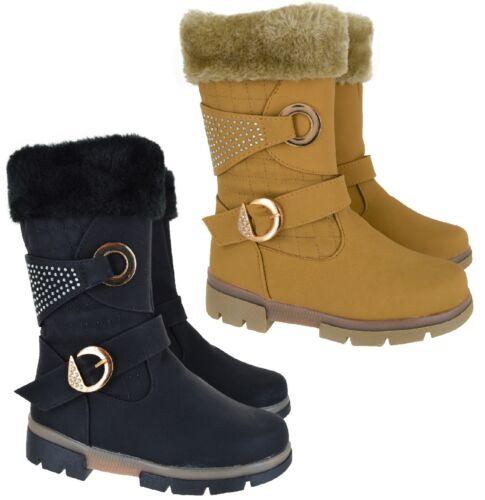 KIDS GIRLS CHILDREN WINTER SNOW GRIP SOLE FAUX FUR LINED SCHOOL ZIP SHOES BOOTS