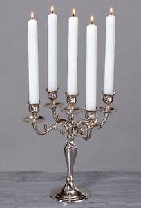 Kerzenleuchter-26cm-Silber-5-flammig-vernickelt-Kerzenstaender-Antik-Barock-Neu