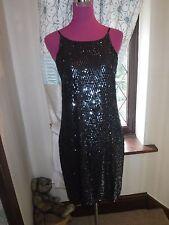 Stunning  All Saints Cecile Sequin Dress Black Size 12 Excellent Condition