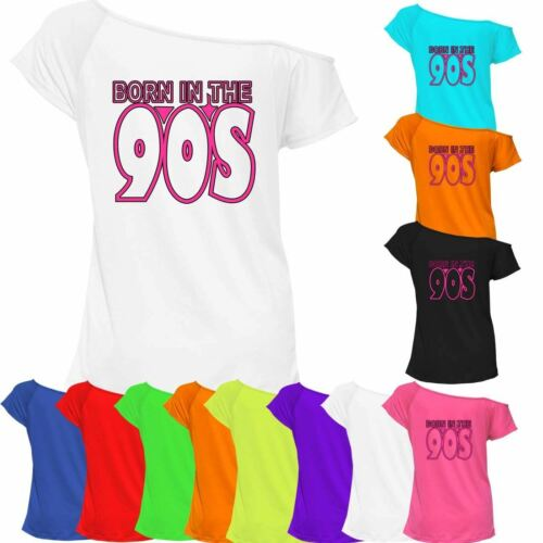 Nacido en los años 90 Camiseta Top señoras del Hombro Retro Gallina Fiesta 7039 Lote