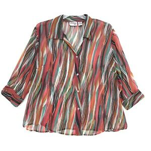 Joanna-Plus-3-4-Sleeve-Sheer-Tunic-Blouse-Sz-22W-Multi-Color-Abstract-Button-Up