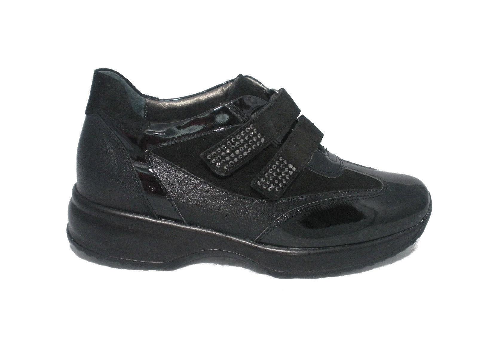 schuhe MELLUSO EVOLAIR Damens SNEAKERS 06022 CON STRAP NERO MADE IN ITALY Schuhe