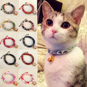 Details About Necklace Collars Elastic Anti Strangulation For Pet Cat With Bell Japanese Style
