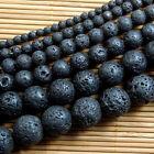 "Natural Nature Black Volcanic Lava Gemstone Round Beads 15"" BDAU"
