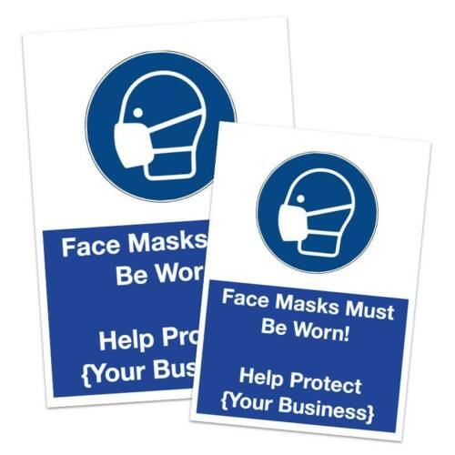 CO VID MASK MUST BE WORN WARNING SIGN STICKER  BUSINESSES OFFICES WORKPLACE 19