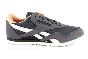 Reebok-Classic-Nylon-Slim-Sneaker-Femmes-Chaussures-De-Sport-Daim-Gris-38-41