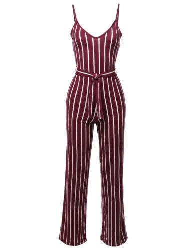 FashionOutfit Women/'s Pinstripe Sleeveless Strap Self Tied Waistband Jumpsuit