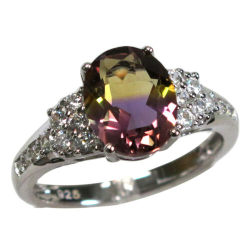 GORGEOUS 3 CT OVAL CUT AMETRINE 925 STERLING SILVER RING SIZE 510