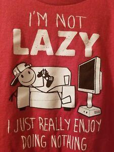 IM NOT LAZY I REALLY ENJOY DOING NOTHING Kids Funny Sloth T-Shirt Boys Girls Tee