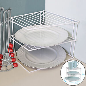 Image Is Loading 3 TIER WHITE SHELF ORGANIZER MUG PLATE HOLDER