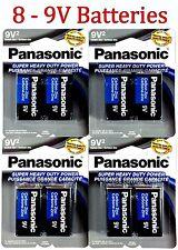 8 Wholesale 9V Panasonic 9 Volts Batteries Battery Super Heavy Duty Lot