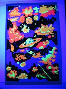 Vintage 1960s 70s Psychedelic Blacklight Poster GALAXY ...