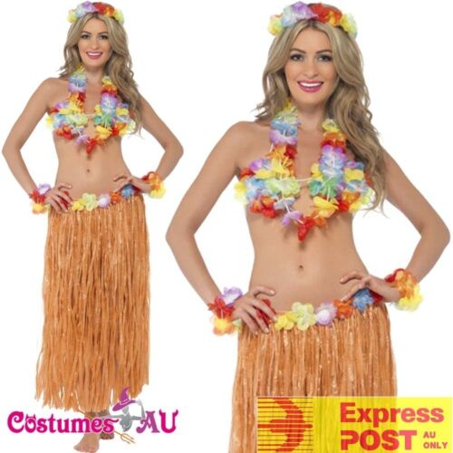 Ladies Hula Honey Instant Kit Hawaiian 5pc Fancy Dress Grass Skirt Luau Costume