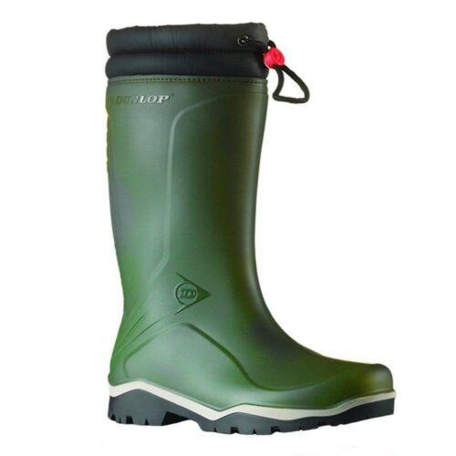 Dunlop Blizzard Warm Fleece-Lined Padded Collar Green Wellington Wellies Boots