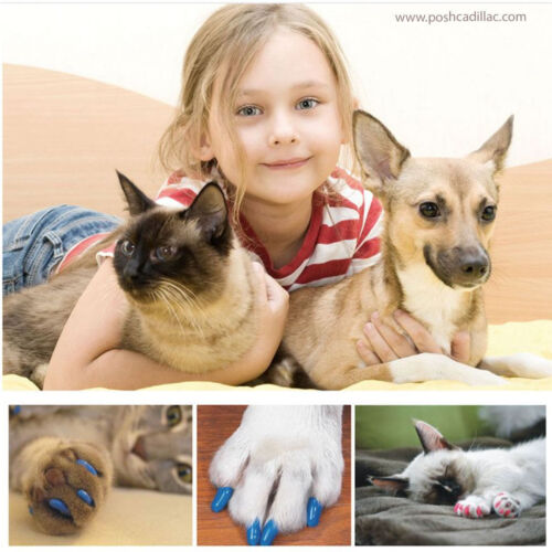 Pet Nail Caps Claw Cover Rubber Dog Cat Kitten Paw Control Protector XS S M L XL