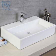 White Rectangle Ceramic Vanity Art Basin Porcelain Bath Vessel Washing Sink Bowl