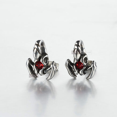 silver earrings stainless steel crystal vintage style scorpion stud