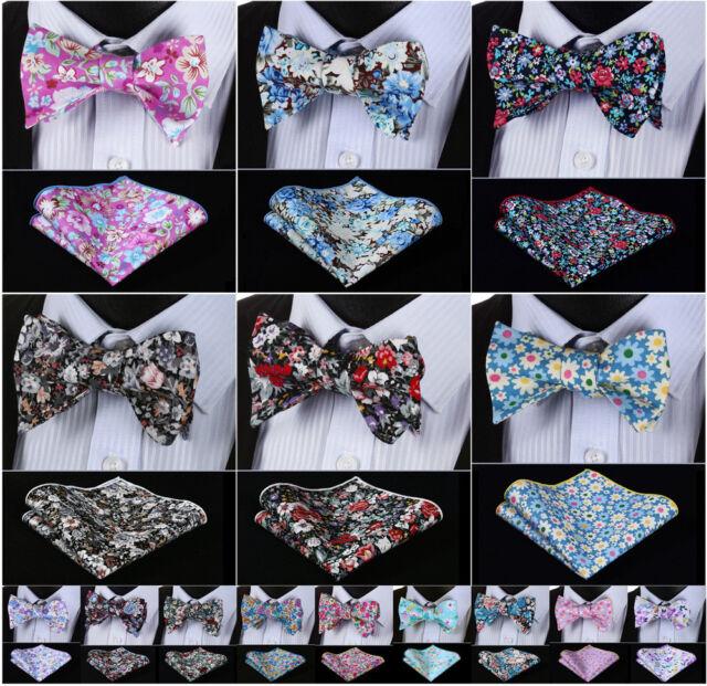Floral Men Woven Cotton Self Bow Tie Pocket Square handkerchief Set #G2