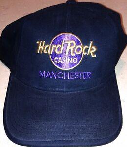 Hard-Rock-Casino-MANCHESTER-Black-Baseball-HAT-CAP-with-Gold-Purple-LOGO-New