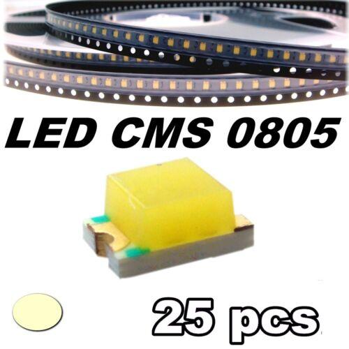 155//25# LED blanc chaud CMS 0805 25 pcs SMD warm white