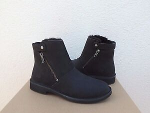 48dd08627e8 Details about UGG KAYEL BLACK LEATHER/ SHEEPSKIN CHELSEA ANKLE BOOTS, US  11/ EUR 42 ~NEW