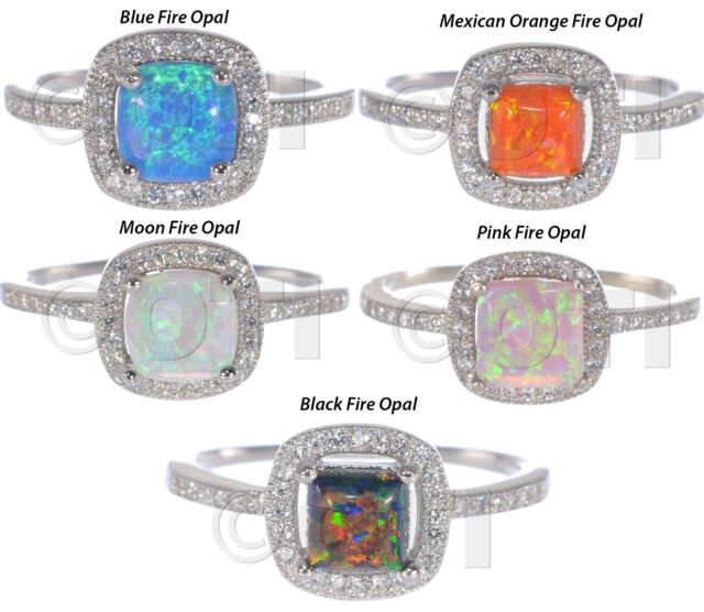 White Gold Princess Cut Promise Engagement Bridal Fire Opal CZ Silver Ring