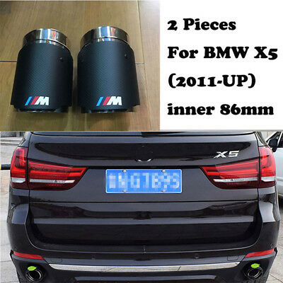 2xCarbon Fiber Exhaust Tips for BMW X5 2011-17 M Colored Muffler Pipe Tailpipe