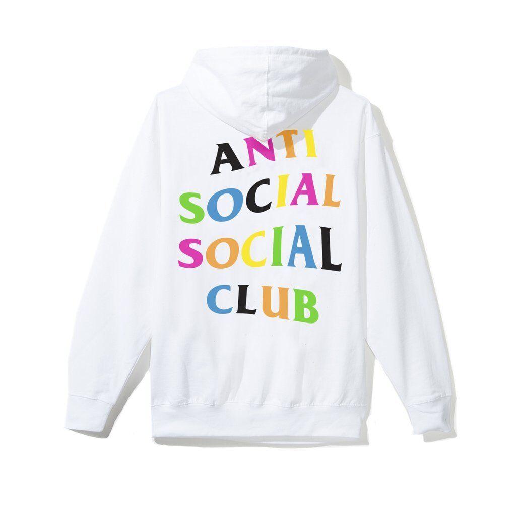 IN-HAND Anti Social Social Club Club Social Rainy Dayz Large bianca Rainbow Hoodie L assc 05a257