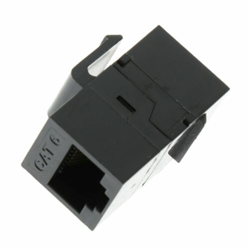 10 Pack Black CAT6 Inline Coupler Keystone RJ45 Female Snap-In Jack Insert