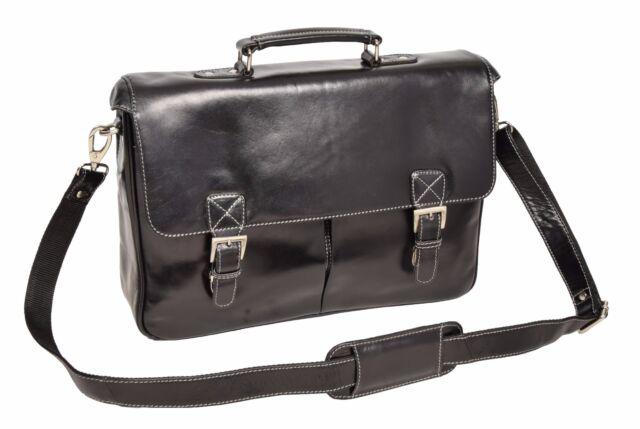 New Mens Briefcase Black Real Leather Shoulder Laptop Doents Office Bag Brig