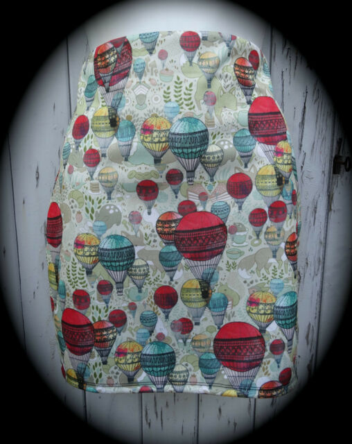 Hot Air Balloon Mini Skirt - Size 12 14 - Bodycon Fox Cartoon Animal Vintage