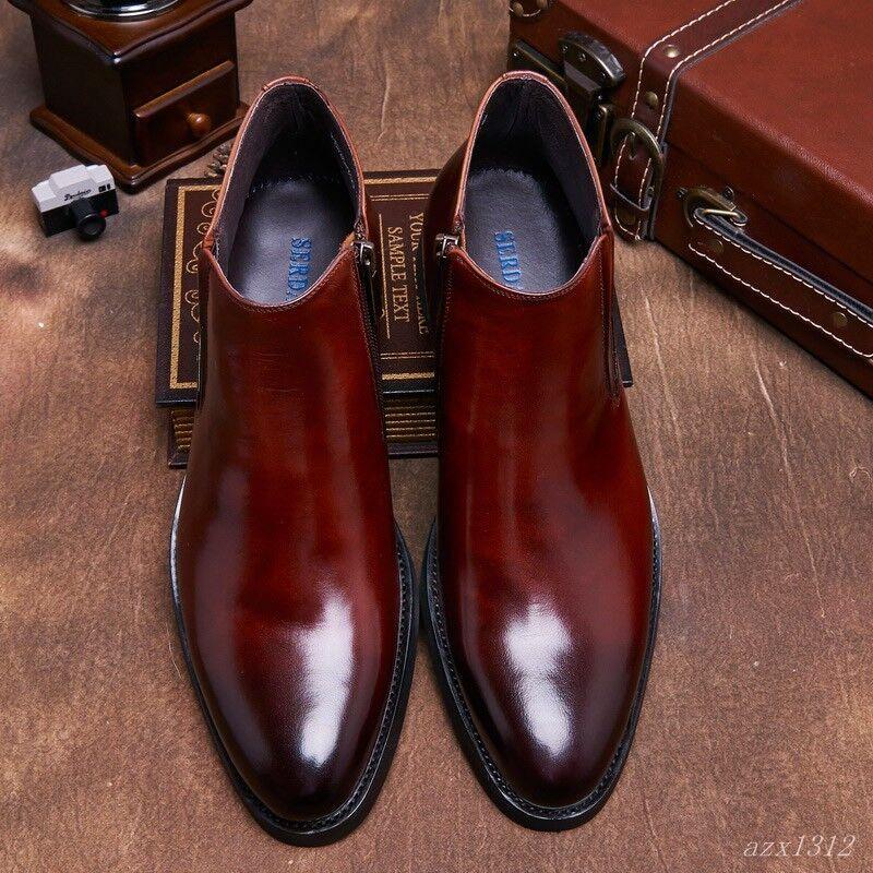 Hombre Cuero Real De Cremallera Tobillo botas De Invierno Zapato británico Retro Brillante Alta Top 2 Colors