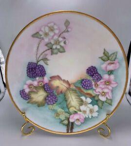 Vintage-Handpainted-Blackberries-10-034-Hanging-Plate-Gold-Rim-Signed-Purple-Pink