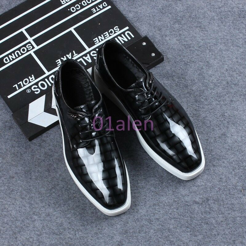 Uomo Wing Tip Shiny Pelle Wedding Lace Up Flat Flat Flat Heel Shoes Dress Clubwear Pumps 42777d