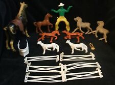 Vintage Plastic Moveable Large Cowboy And Horse -Smaller Horses-Fence-Saddles