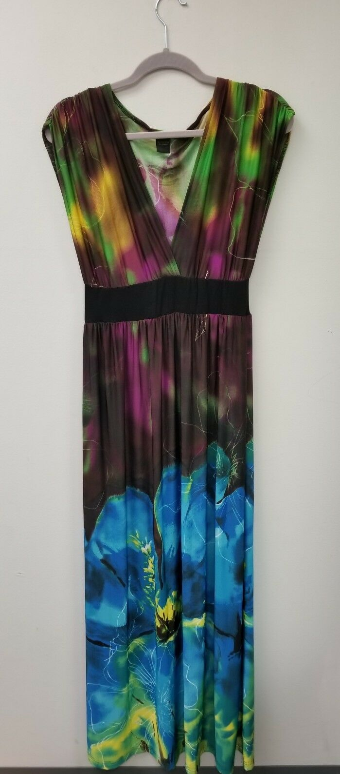 STUNNING EXOTIC FLORAL PRINT SLEEVELESS DRESS UP  DOWNMAXI WOMEN'S SIZE L LARGE