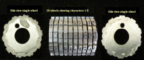 "L Set of 10 Leibinger Offset Number Machine Wheels 9//64"" Gothic Character"
