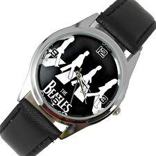 Los Beatles Reloj De Acero Y Cuero música rock Leyendas Reloj De Cebra CD Redondo E2 Reino Unido