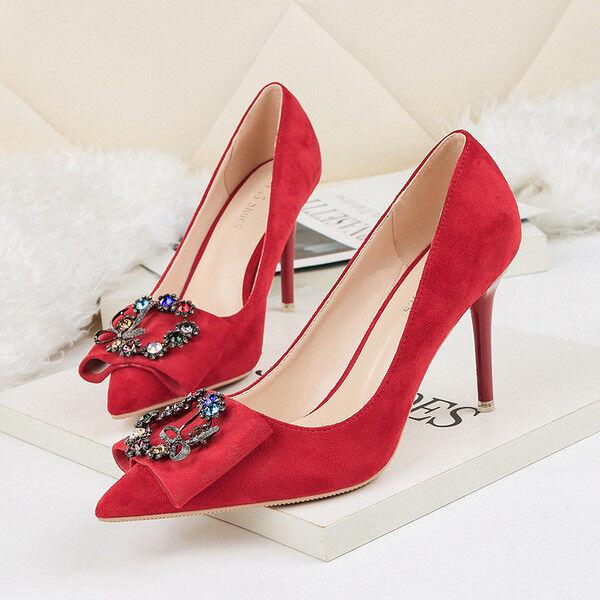 Chaussures decolte eleganti  stiletto 8 cm rouge strass comodi pelle sintetica 1563