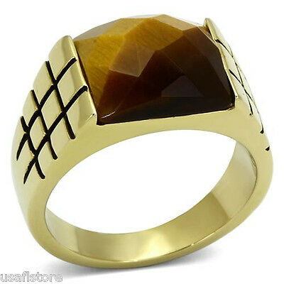 Smoked Genuine Tiger Eye Gold EP Mens Stainless Steel Ring