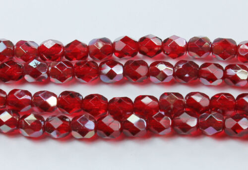25 Ruby-Celsian Czech Firepolished Faceted Round Glass Bead Beads 6mm