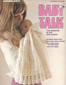 Baby-Talk-Tiny-Treasures-to-Knit-amp-Crochet-1973-Leisure-Arts-Leaflet-4-Vintage