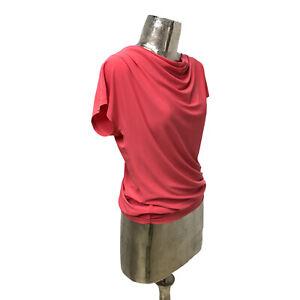Bianca Top T-Shirt Blouse Scoop Neck Coral UK M 12 (EU40) NEW Women's RRP £60