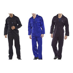 Click-Polycotton-Mens-Stud-Boiler-Suit-Overalls-Coveralls-Black-Navy-Royal-Blue