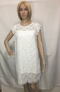 9bb23fc34ab2 Image is loading ZARA-OFF-WHITE-GUIPURE-LACE-FRILLED-MINI-DRESS-