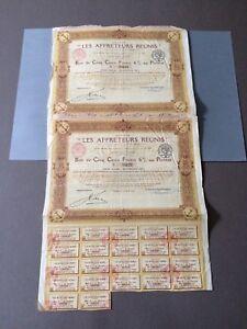 2 Titres Actions 500 Francs - Les Affréteurs Réunis - 1902 7mypyabr-07223635-745630051